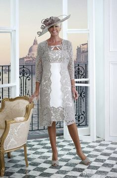 2019 New Plus Size Mother of The Bride Dresses with Lace Jacket Tea Length Short Sleeves Wedding Guest Dresses - Suknia - Mother Of The Bride Fashion, Mother Of The Bride Dresses Long, Mother Of Bride Outfits, Mothers Dresses, Mother Bride Dress, Mob Dresses, Dressy Dresses, Elegant Dresses, Bridal Dresses