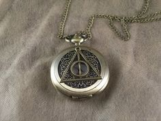 watch harry potter bronze the death hallows necklace brass flower pocket watch vintage style chain charm locket necklace on Etsy, $0.20