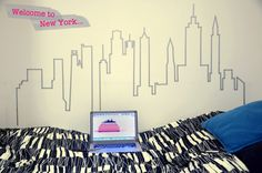 New York skyline masking tape wall design