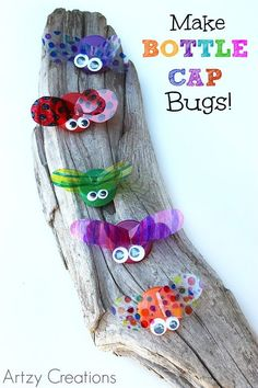 Upcycle old bottle caps into a fun, summer kids craft! You and your kids can make your own bugs using bottle caps, googly eyes, glue, and a few other embellishments.: