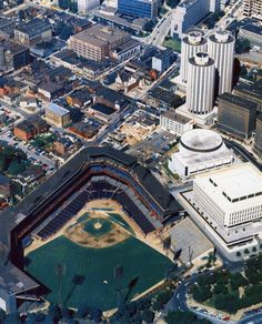Late 1960s color aerial of Forbes Field (Pirates home 1909-70)