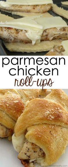 nice cool Parmesan Chicken Roll-ups   cheese, chicken, and crescent roll dough......