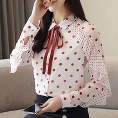 Buy online SHIRT DOTTED CHIFFON BOW for USD Harajuku high quality fashion clothing store. discounts up to Free worldwide shipping. Return and exchange Girls Fashion Clothes, Modest Fashion, Fashion Outfits, Style Fashion, Womens Fashion, Mode Turban, Sleeves Designs For Dresses, Dress Sewing Patterns, Blouse Designs