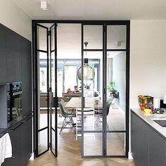 Open Kitchen And Living Room, Home Decor Kitchen, Home Room Design, Home Interior Design, Living Room Interior, Home Living Room, Modern Townhouse Interior, Modern Closet Doors, Steel Doors And Windows