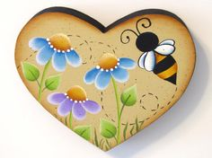 Flowers and Bee on Heart Shaped Wood Handpainted by ToleTreasures, $8.50