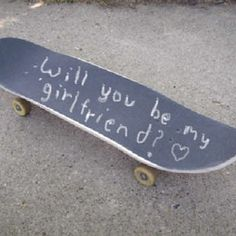 18 Sickeningly Romantic Ways To Ask Out Your Crush. What a cute way for your skater boy to ask you that way? Couple Aesthetic, Aesthetic Pictures, Ask Out, Skater Boys, Skater Couple, Me As A Girlfriend, Just Girly Things, Skateboards, Cute Couples