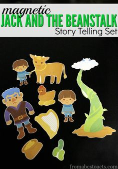 Work on reading comprehension skills with this free printable, magnetic Jack and the Beanstalk storytelling set!