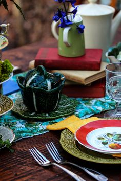 Alice in Wonderland, farm table, vintage table setting, books, creamers