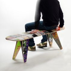 Recycled skateboard bench. Ian (aka skater dude) would love one of these for our house. So would I. $699.99