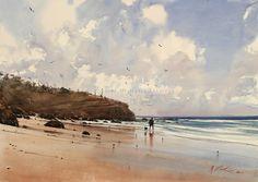 Low Tide (Going Fishin') - Watercolor by Joseph Zbukvic