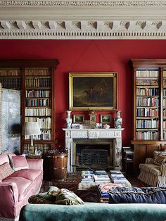 Simon Watson / Interiors / Birr Castle Ireland And the woodwork is perfection! English Decor, English Country Decor, Red Rooms, Beautiful Interiors, Country Style Homes, Home Decor, House Interior, English Interior, Red Home Decor