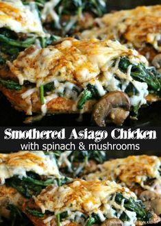 This Smothered Asiago Chicken With Spinach And Mushrooms can be ready in under 30 minutes. It's a healthy dinner packed with flavor and texture, too. Turkey Recipes, Chicken Recipes, Dinner Recipes, Dinner Ideas, Chicken Meals, Turkey Dishes, Meat Recipes, Meal Ideas, Pasta Recipes
