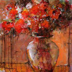 Red Flowers in Tuscan Urn Robert Burridge