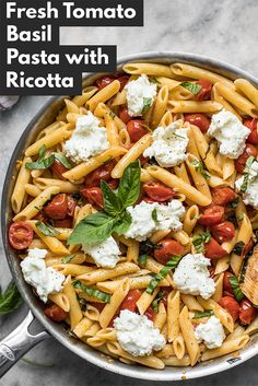Fresh Tomato Basil Pasta with Ricotta is the perfect light dish for summer. It's fast, fresh, and only takes a few ingredients! #pasta #easyrecipe #easydinner #yummy #basil #fresh