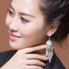 Long large Boho feather earring
