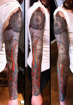 """""""Flower of life and feathers"""" by Peter Walrus at Meatshop Tattoo in Copenhagen."""
