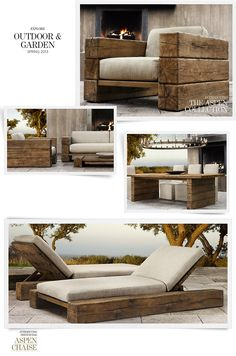 The Aspen Collection 2013. #reclaimedwood, #wood, #frenchoak, #chaise, #lounge, #chair, #table, #outdoor, #patio, #furniture
