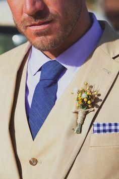 Rimrock Ranch Wedding in PIoneer Town // Joshua Tree // beige and blue groom suit by j. crew
