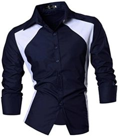 jeansian Men's Casual Slim Long Sleeves Button Down Dress Shirts Tops 80112