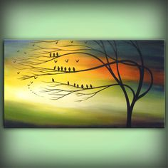 Yellow tree art wall art tree painting fall autumn large landscape painting…