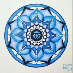 Blue Fifth Chakra Mandala: Throat Chakra Vishhuddha Mandala Drawing, Mandala Art, Bright Art, Throat Chakra, Dutch Artists, Mandala Coloring, Large Prints, Order Prints, New Art