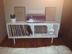DIY vinyl record storage cupboard.