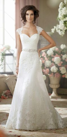 David Tutera Bridal 2014 | Lace sheath jewel belted sweetheart neckline with lace cap sleeves