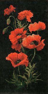 схема вышивки крестом красные маки на черной канве