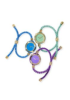 Time to treat yourself, or a tardy pal, to something cheap and cheery: part friendship bracelet, part wristwatch and all bohemian cool when layered with your other bracelets.
