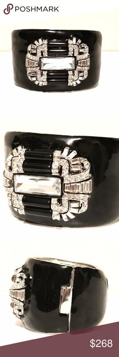 KJL Crystal Cuff Kenneth Jay Lane Black Enamel Art Deco Hinged Cuff with Silver and Crystal Pavé Swarovski Stones.  Measurement: 2 Inches Wide. 2 1/4 Inches Inside Diameter  Clasp Type: Hinged Kenneth Jay Lane Jewelry Bracelets