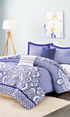 cheerful blue and white bedroom