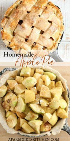 Classic apple pie from scratch has a delicious apple filling baked inside a golden, flaky pie crust. No need to pre-cook an apple pie filling! This apple pie filling will thicken on it's own and your pie will be perfectly baked in a cast iron skillet. #applepie #pierecipes #piecrust #apples #pie #castironrecipes