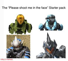 """The """"Please shoot me in the face"""" Starter pack - iFunny :) Funny Gaming Memes, Funny Games, Stupid Funny Memes, Funny Relatable Memes, Video Game Memes, Video Games, Halo Funny, Halo Spartan, Halo Armor"""