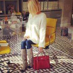 Caroline Stanbury.. Valentino sweater, Chanel boots, and Hermes Kelly bag.. #officelife