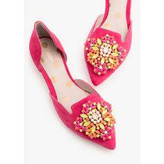 Boden Leah Jewelled Flats (455 PEN) ❤ liked on Polyvore featuring shoes, flats, jeweled flats, flat pump shoes, shiny shoes, polish shoes and pointed toe shoes