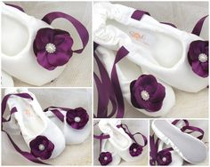 Bridal Ballerina Slippers - Bridal Flats in Plum and Ivory with Satin Flower and Jewels. $115.00, via Etsy.