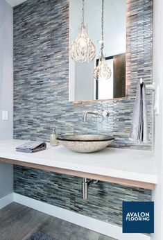 Agate Brick Pearl Finish Glass Tile Bathroom Accent Wall | #tile #bathrooms #design