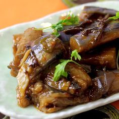 Spicy Garlic Japanese Eggplants, with Bamboo Shoots and Black Fungus Mushrooms.