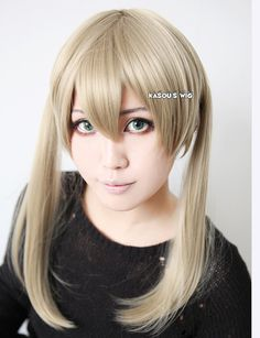 Style: Twin tails straight smooth cosplay wig with short bangs (with natural scalpt on top)  Since make's hair style is high tied thin twin tails, in order to be more faithful the her hair style; I especially designed the twin tails like that :) Hope you like it.