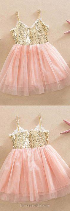 Fabulous A-line Pink Flower Girl Dresses, V-neck Birthday Dresses, Tulle Tutu Dresses, Knee-length Sequins Pageant Dresses
