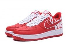 77f0af27a41c Nike Air Force 1 07 Lv8 White Red Unisex Sneakers Shoes 823511-608