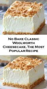No Bake Classic Woolworth Cheesecake - Sugar Apron No Bake Woolworth Cheesecake is a classic, light and lemony dessert and will be the perfect addition to your Easter or Mother's Day menu! Chocolate Desserts, Fun Desserts, Dessert Recipes, Baking Desserts, Classic Desserts, Chocolate Chips, Dessert Healthy, Baking Cakes, Dessert Ideas