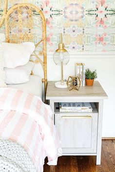 Modern Farmhouse USB Nightstand via #bhginfluencer @BlesserHouse. #kidsroom #girlsroom #nightsand #farmhouse #nightstandecor #chargingstation Creative Kids Rooms, Rustic Nightstand, Affordable Furniture, Rustic White, Kidsroom, Better Homes And Gardens, Panel Doors, Beautiful Bedrooms, Quality Furniture