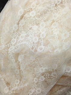 Ivory Lace Fabric Ivory Gauze Lace Fabic Wedding Veil by QFabrics, $5.99