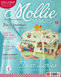 Another of my sewing projects for the wonderful Mollie Makes magazine. I designed the book covers and made them for the cover feature. The instructions and templates were included in the magazine but you can make one too with my PDF sewing pattern (with or without handles) https://www.etsy.com/uk/listing/209154745/pdf-sewing-guide-book-cover-with-beaded?