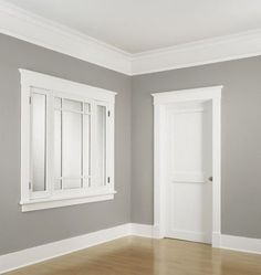 Baseboard styles modern with base molding ideas. Baseboard is the trim that goes along the wall bottom beside the flooring. Different baseboard styles. Window Molding Trim, Moldings And Trim, Crown Moldings, Moulding, Window Casing, Types Of Crown Molding, Cove Crown Molding, White Window Trim, Door Frame Molding