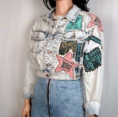 80's Wearable Art Denim Patchwork Cropped Jacket