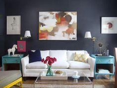 Dark walls, turquoise dresser