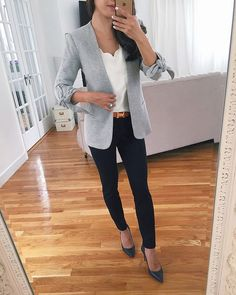 classic work style // knit grey blazer + navy ankle pants for the office