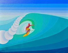 The 2015 Rip Curl Pro is underway at Bells Beach near Torquay in Victoria at the annual Easter surfing championships. Painting is for sale at A$150.